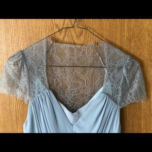 Grey lacy formal dress
